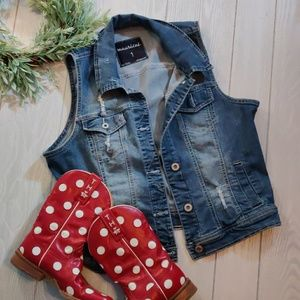 Maurices Distressed strech denim jacket vest